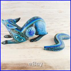 A1518 Fox Alebrije Oaxacan Wood Carving Painting Handcrafted Folk Art Mexi