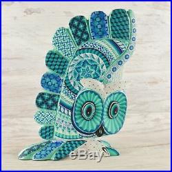 A1650 Owl Alebrije Oaxacan Wood Carving Painting Handcrafted Folk Art Mex