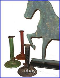 AAFA 1800s 19th C Folk Art Country Primitive IRON Painted Hogscraper Candlestick