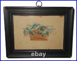 AAFA 1800s 19th Folk Art Country Primitive Americana Theorem Watercolor antique