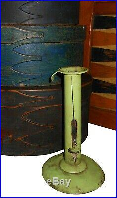 AAFA 1800s 19th Folk Art Country Primitive Painted Hog Scraper Candlestick