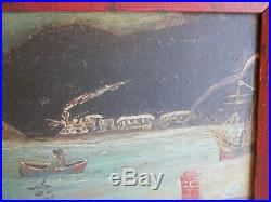 AAFA 1800s 19th Naive Folk Art Country Primitive Americana Painting Slate Board