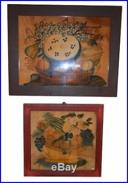 AAFA 1800s American Antique Folk Art LARGE Theorem Naive 19th C