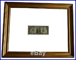 AAFA 1800s Antique Large Folk Art Painted frame Sampler 19th C. Gild Gilt