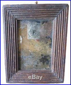 AAFA 1800s Folk Art Mirror Looking Glass Frame 19th C. BROWN paint