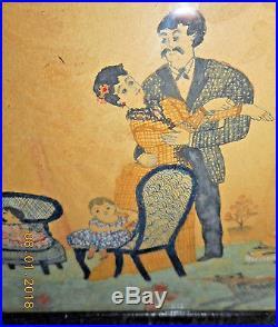 AAFA 1800s NAIVE FOLK ART WATERCOLOR PAINTING GENRE FAMILY SCENE AMERICANA