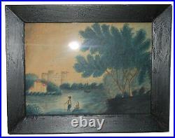AAFA 19th Folk Art Country Primitive Americana Hudson River Painting Watercolor