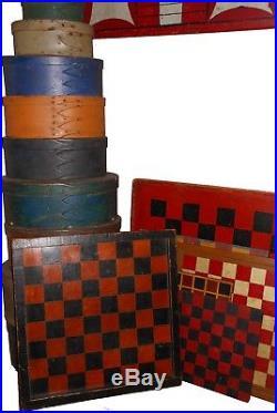 AAFA Antique Folk Art Naive Country Primitive Game Board Paint