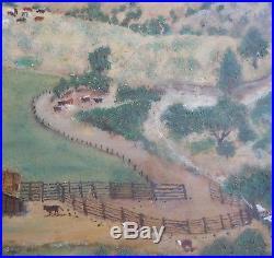 AAFA Antique LARGE Folk Art Naive Country Primitive Painting