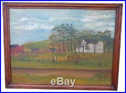 AAFA Antique VERY LARGE Folk Art Naive Country Primitive Painting