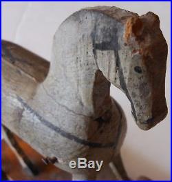 AAFA C. 1880s Tiny Antique Folk Art Painted Wooden Pull Toy Horse White