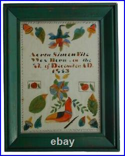 AAFA Dated 1863 Folk Art Country Primitive Fraktur Dauphin County PA