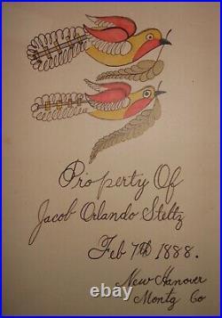 AAFA Dated 1888 Folk Art Country Primitive Fraktur Montgomery County, PA