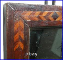 AAFA Tiny Mirror Looking Glass Folk Art Country Primitive Inlaid Wood