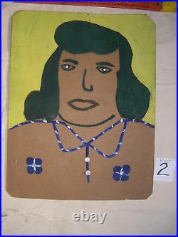 ALVA GENE DEXHIMER FOLK ART PAINTING OUTSIDER VINTAGE Lady Dark hair#2