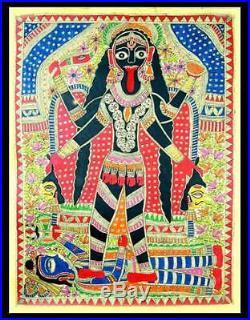 ANGRY GODDESS KALI Madhubani Folk Art Painting India