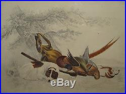 ANTIQUE 19th CENTURY HUNTING DOG RIFLE BIRDS FALCON WOODCOCK FOLK ART PAINTING