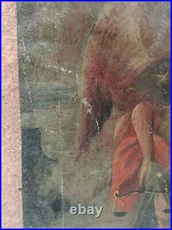 ANTIQUE 19th CENTURY RETABLO MEXICAN FOLK ART TIN ARCHANGEL OIL PAINTING ON TIN