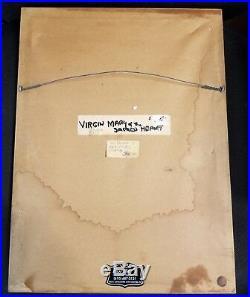 ANTIQUE 19th CENTURY RETABLO MEXICAN FOLK ART TIN VIRGIN MARY DOVE PAINTING