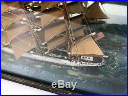 ANTIQUE 19th C FOLK ART SHIP DIORAMA SHADOW BOX CARVED PAINTED WOOD circa 1890s