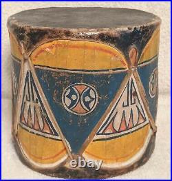 ANTIQUE Native COCHITI PUEBLO Painted New Mexico FOLK ART Collectible Drum #3