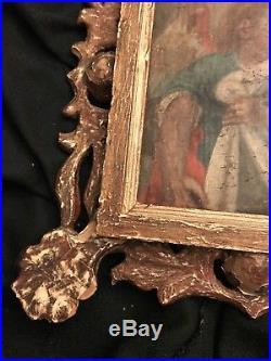 ANTIQUE RELIGIOUS PAINTING CANVAS FOLK ART 18th/19TH C ANGEL HOLY CATHOLIC