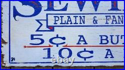 ANTIQUE SEWING SIGN. Buttons. Hand painted. Wood. Country. Folk Art