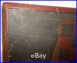 AWESOME Antique Penna. Folk Art Painted Wood Checkerboard Gameboard ESTATE FIND