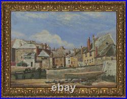 A. Inger Signed & Framed 20th Century Oil, Cornish Harbour Street Scene