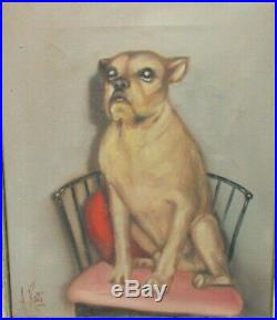 A. Ralli Vintage Original Oil Canvas Dog In Chair Folk Painting Italy Dated 1960