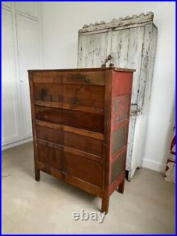 Aafa Antique Early Folk Art 1800 Cupboard Pie Safe Square Nails Dovetailed Paint