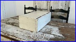 Aafa Antique Folk Art Apothecary Cabinet Old White Paint Make-do Drawers Wood