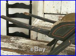 Aafa Antique Folk Art Blue Paint Wood Wheelbarrow Garden Primitive Square Nails