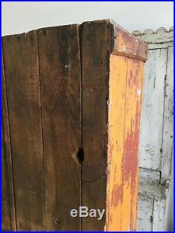 Aafa Antique Folk Art Cabinet Cupboard Old Pumpkin Blue Red Paint Rosehead Nail