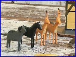 Aafa Antique Folk Art Noahs Ark With 22 Animals German Great Original Paint