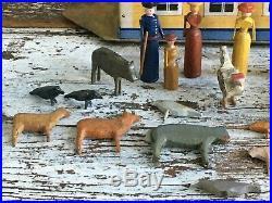Aafa Antique Folk Art Noahs Ark With 26 Animals German Great Original Paint