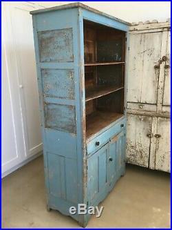 Aafa Antique Folk Art Pie Safe Cabinet Cupboard Original Robins Egg Blue Paint