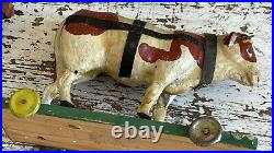 Aafa Antique Folk Art Primitive Pull Toy Wood Bull And Cow Original Hand Painted
