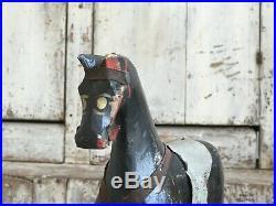 Aafa Antique Folk Art Primitive Pull Toy Wood Horse Original Hand Painted Black