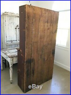 Aafa Antique Folk Art Wood Stepback Cabinet Cupboard Original Oxblood Red Paint