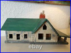 Aafa Antique Old Painted Folk Art Farmhouse primitive green red Grey handmade