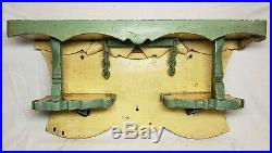 Aafa Antique Primitive Old 1919 Painted Hand Carved Folk Art Oak Wall Shelf