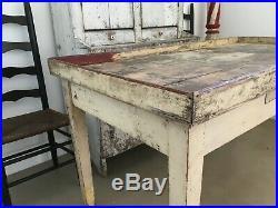 Aafa Early Antique Folk Art Wood Harvest Fall Farm Sorting Table Original Paint