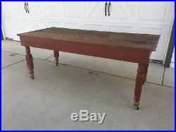 Aafa Early Antique Folk Art Wood Harvest Fall Farm Table Original Red Paint
