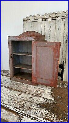 Aafa Early Folk Art Antique Cabinet Cupboard Old Red Grey Paint Square Nails