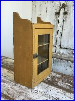 Aafa Early Folk Art Antique Primitive Wall Cabinet Cupboard Mustard Paint Glass