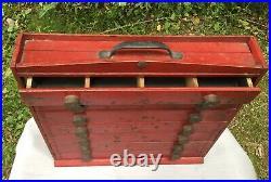 Aafa Folk Art Antique Primitive Cabinet Cupboard Bullet Casing Knobs Red Paint