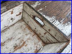Aafa Folk Art Early Primitive Antique Old Apple Tray Wood Green White Paint