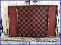 Aafa Folk Art Single Sided Game Checker Board Red Black Paint Great Color