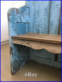 Aafa Ooak Folk Art Antique Primitive Garden Seat From Doors Alligator Blue Paint